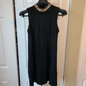 H&M black sheath dress with amber jewel collar